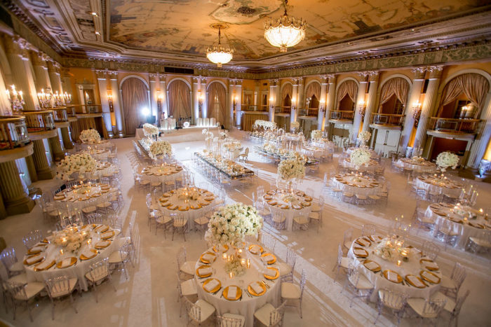 Millennium Biltmore wedding reception ballroom with white carpet