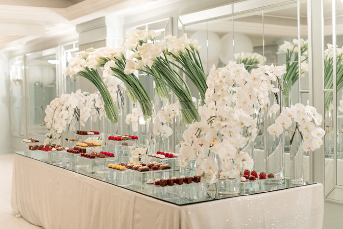 Modern Wedding dessert table with all white flowers