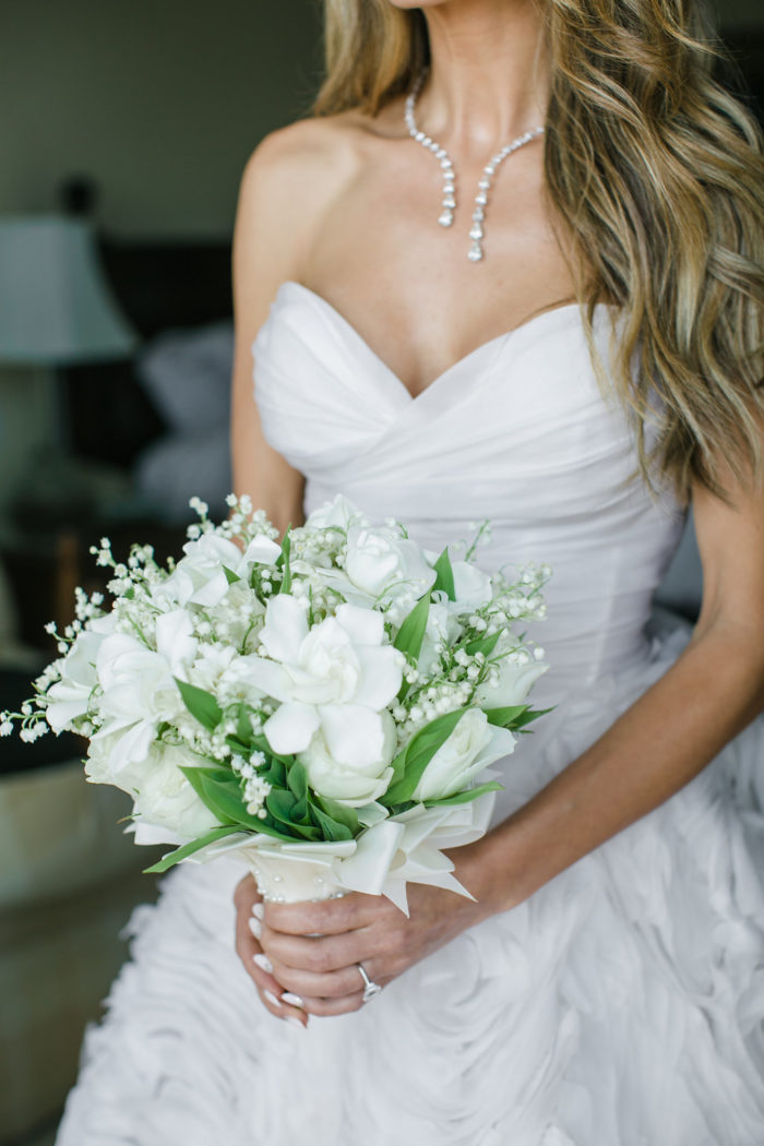 White lilies of the valley bridal bouquet