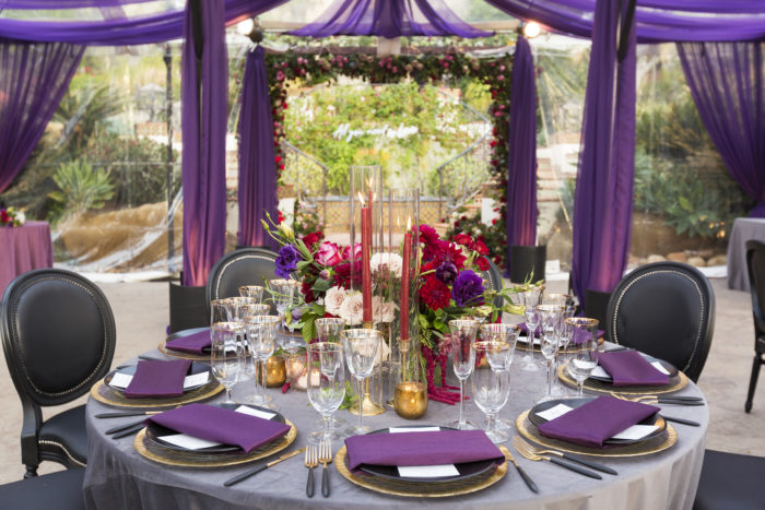 Purple swagging on tent for wedding reception