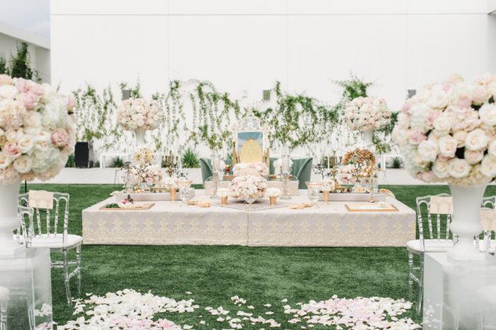 Neutral gold sofreh at Persian wedding