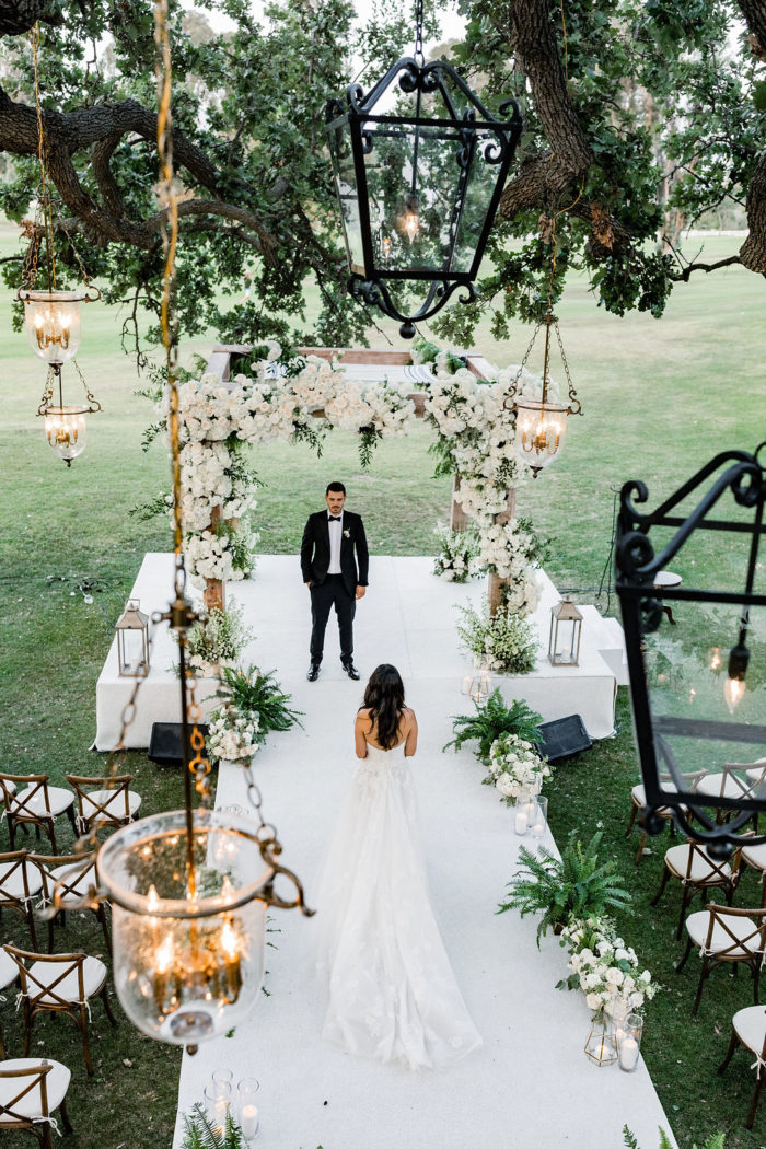 Chuppah inspiration with white flowers and greenery at Ojai Valley Inn Wedding