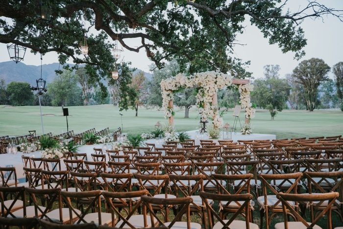 Crossback chairs at wedding ceremony in Ojai Valley Inn