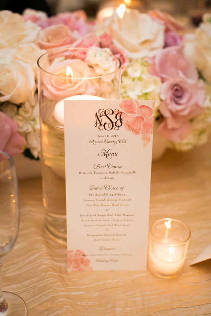 Elegant wedding menu card at Riviera Country Club