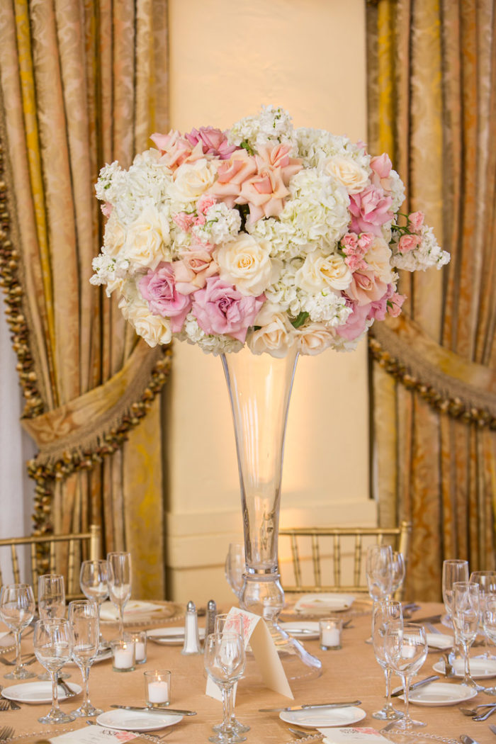 Tall blush pink and white ivory wedding floral centerpiece