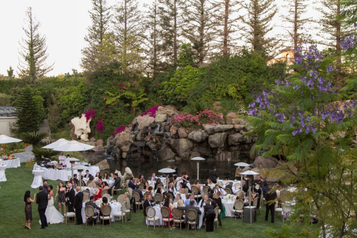 Waterfall lawn wedding reception at Four Seasons Westlake Village